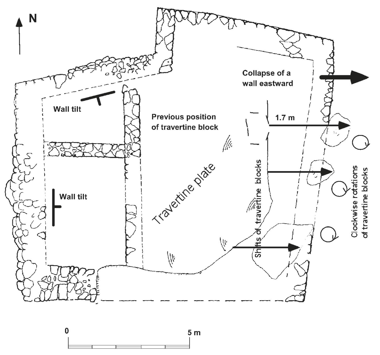 Plan View of Seismic Damage at Ein Erga