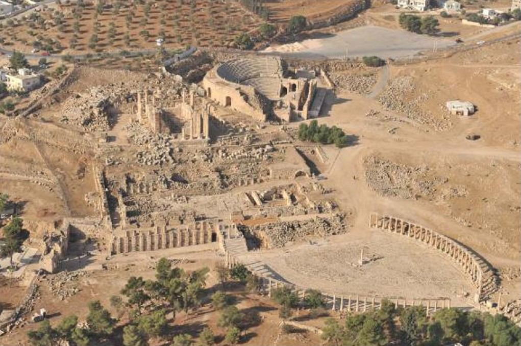 Aerial view of Temple of Zeus Oval Plaza and Theater Jerash